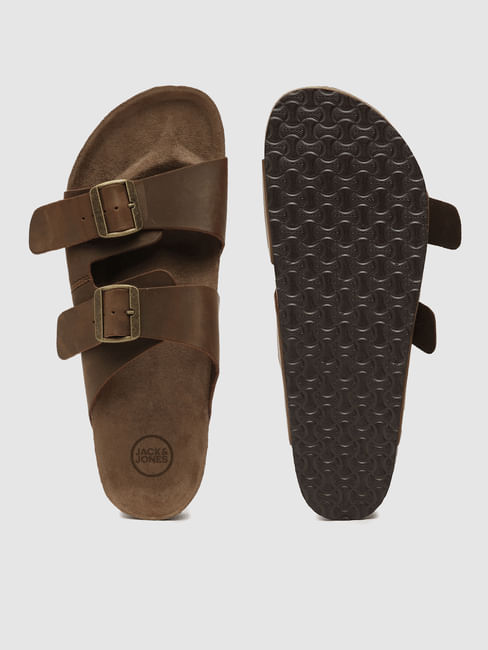 Brown Leather Slip-On Sandals