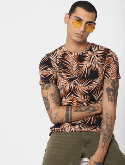 Brown Tropical Print Crew Neck T-shirt