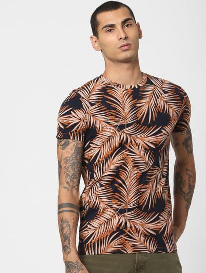 Brown Tropical Print Crew Neck T-shirt