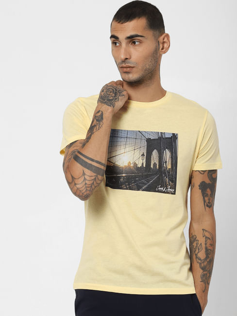 Yellow Graphic Print Crew Neck T-shirt