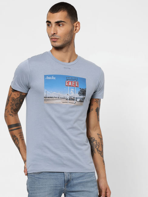 Blue Graphic Patch Crew Neck T-shirt