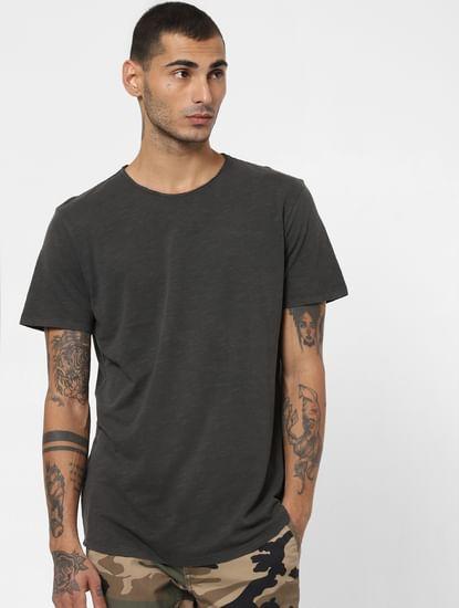 Black Washed Crew Neck T-shirt
