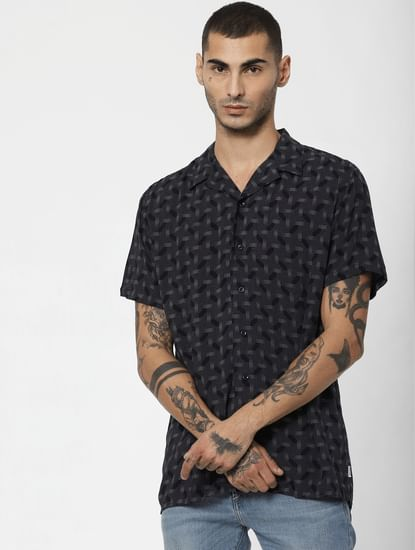 Dark Blue Printed Short Sleeves Shirt
