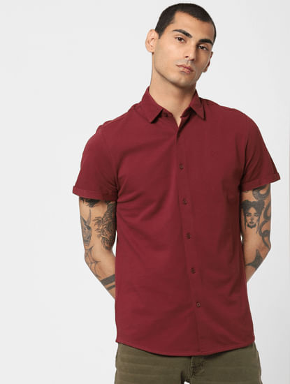 Burgundy Short Sleeves Shirt