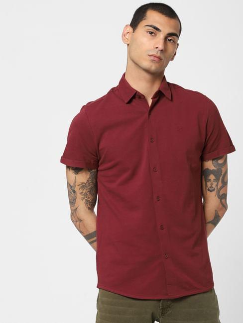 Burgundy Short Sleeves Shirt