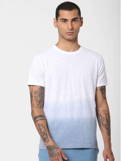 Blue Ombre Wash Crew Neck T-shirt