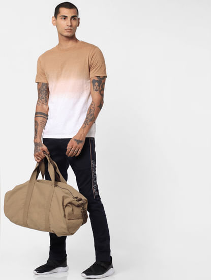 Brown Ombre Wash Crew Neck T-shirt