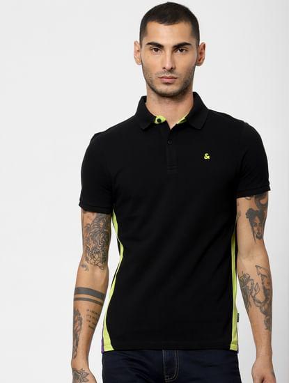 Black Colourblocked Polo Neck T-shirt