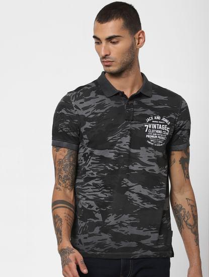 Black All Over Print Polo T-shirt