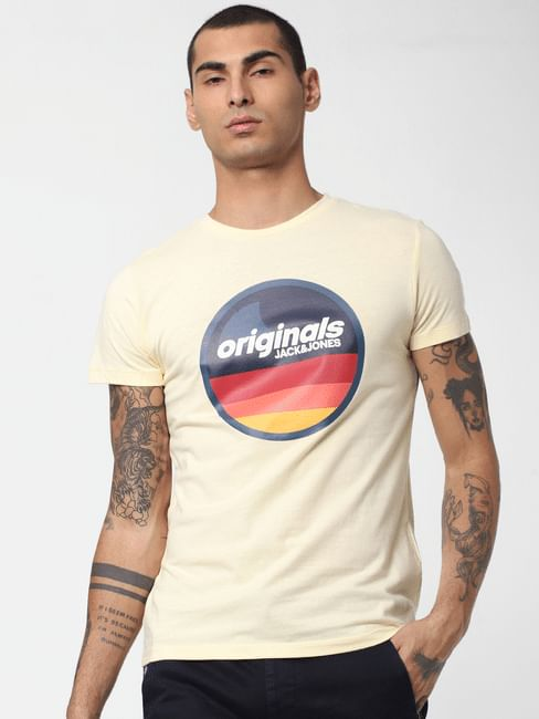 Light Yellow Logo Print Crew Neck T-shirt