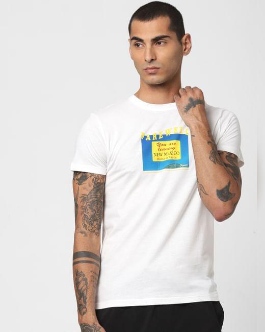 White Typographic Print Crew Neck T-shirt