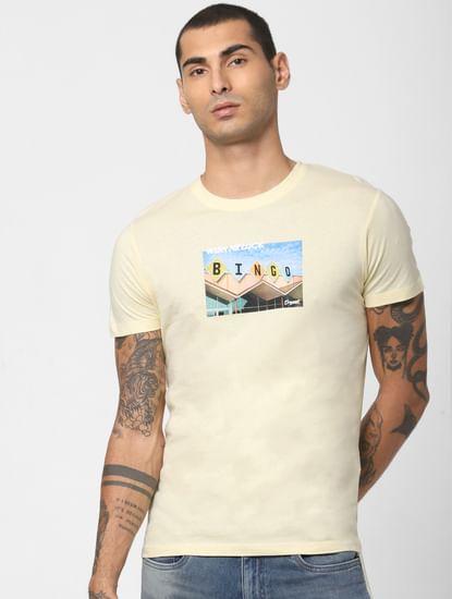 Yellow Typographic Print Crew Neck T-shirt