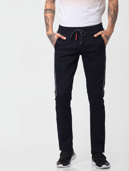 Black Low Rise Tape Detail Glenn Slim Jeans