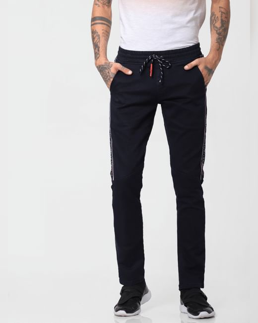 Black Low Rise Tape Detail Glenn Slim Jeans