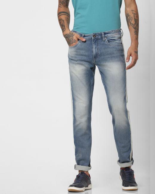 Light Blue Low Rise Tape Detail Glenn Slim Jeans