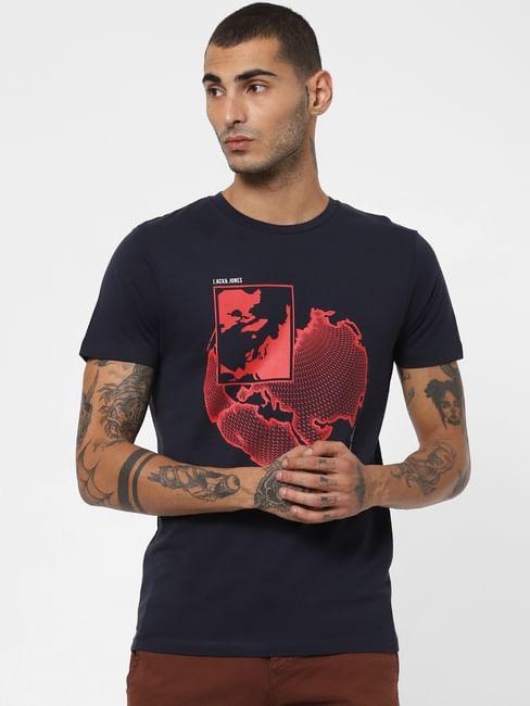 Navy Blue Map Print Crew Neck T-shirt