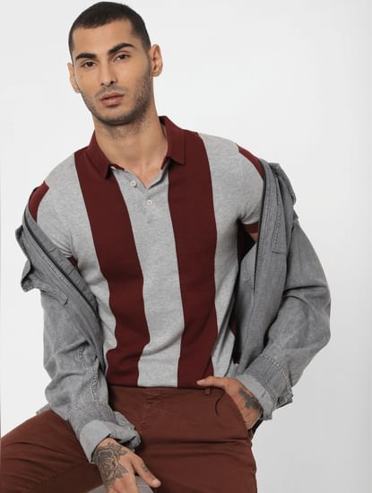 Maroon Striped Polo Neck T-shirt