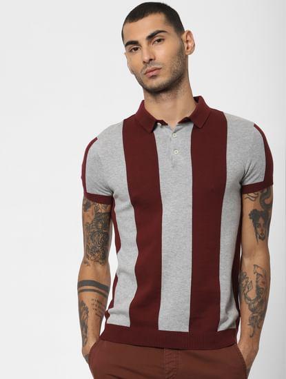 Maroon Striped Polo Neck T-shirt