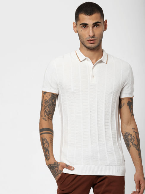 White Textured Polo Neck T-shirt