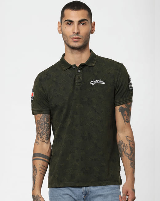 Green Printed Polo Neck T-shirt