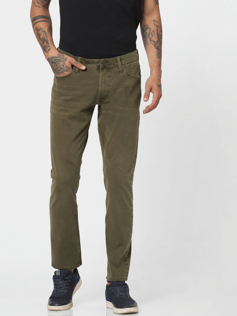Green Low Rise Slim Fit Pants