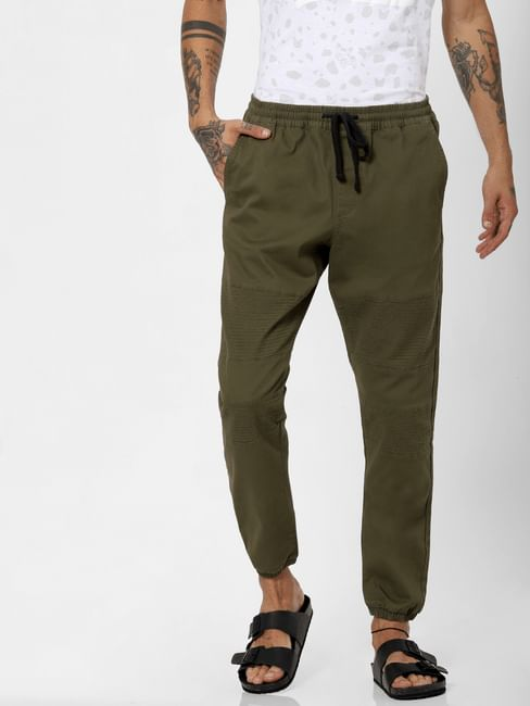 Olive Drawstring Biker Pants