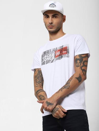 White Landscape Print Crew Neck T-shirt