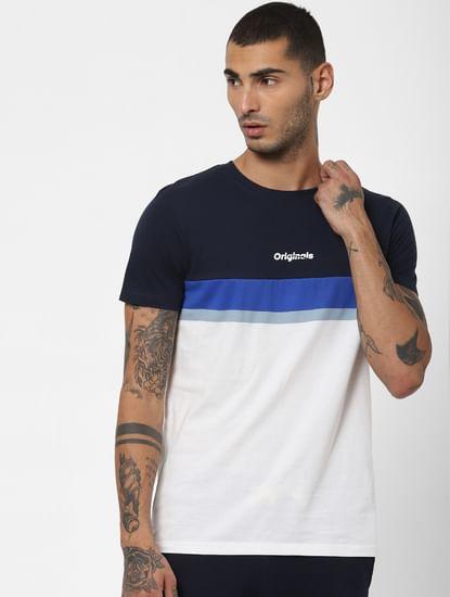 White Colourblocked Crew Neck T-shirt