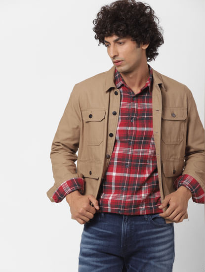 Red Full Sleeves Slim Fit Check Shirt