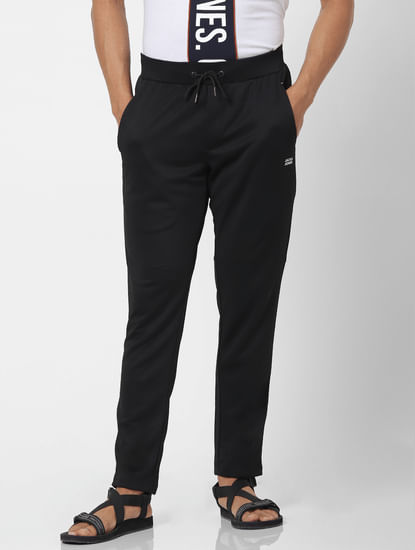 Black Mid Rise Logo Print Sweatpants