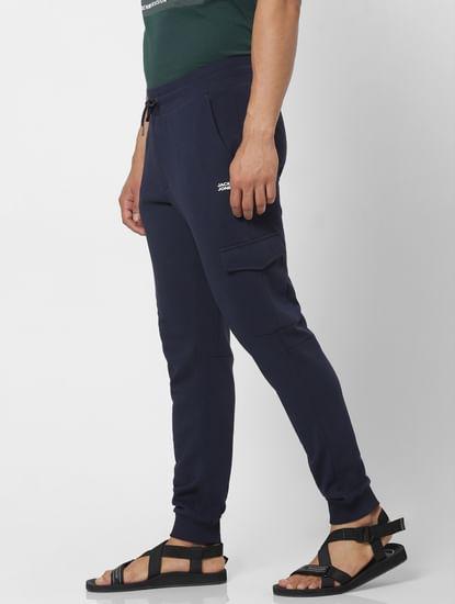 Navy Blue Mid Rise Patch Pocket Sweatpants