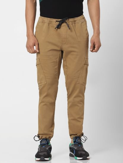 Brown Mid Rise Regular Fit Cargo Pants