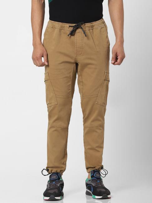 Brown Mid Rise Regular Fit Cargo Pants