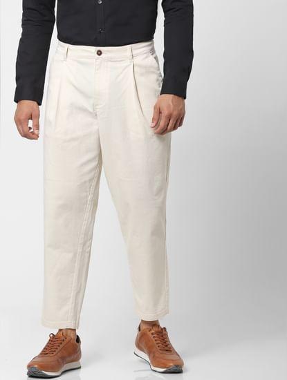 White Mid Rise Regular Fit Pants