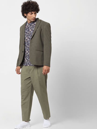 Green Mid Rise Regular Fit Pants