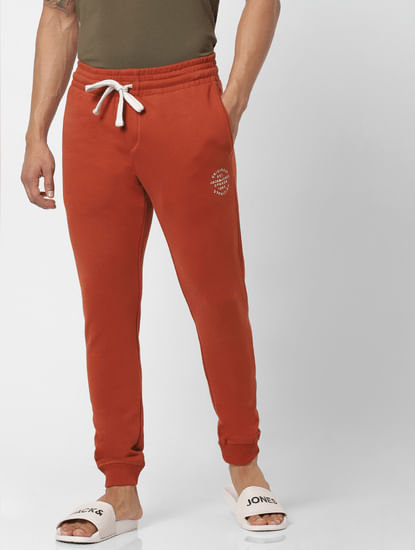Red Mid Rise Logo Print Drawstring Sweatpants