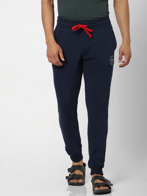 Navy Blue Mid Rise Logo Print Drawstring Sweatpants