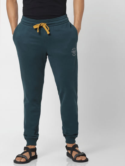 Green Mid Rise Logo Print Drawstring Sweatpants