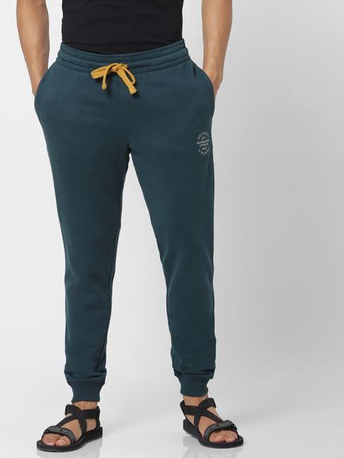 Green Mid Rise Logo Print Drawstring Sweatpants