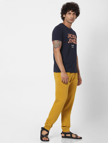 Yellow Mid Rise Logo Print Drawstring Sweatpants