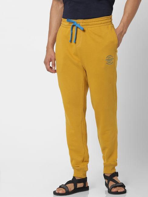 Yellow Mid Rise Logo Print Drawstring Sweatpants