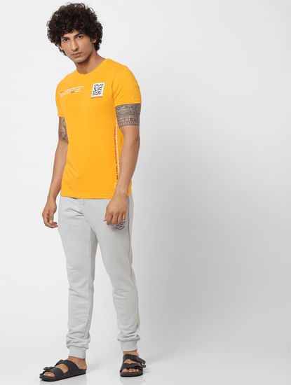 Grey Mid Rise Logo Print Drawstring Sweatpants