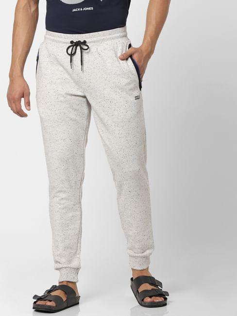 White Mid Rise Drawstring Logo Print Sweatpants