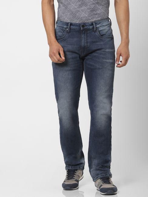 Blue Mid Rise Clark Regular Fit Jeans