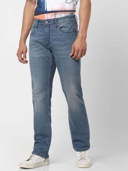Light Blue Mid Rise Clark Regular Fit Jeans