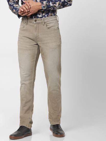 Protect Grey Mid Rise Glenn Slim Fit Jeans