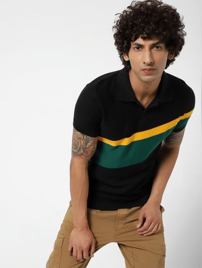 Black Colourblocked Polo Neck T-shirt