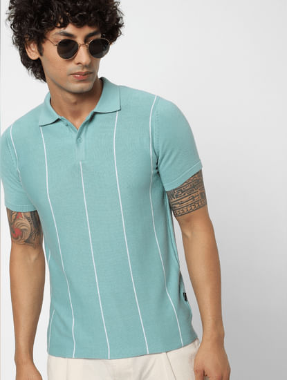Light Blue Striped Polo Neck T-shirt