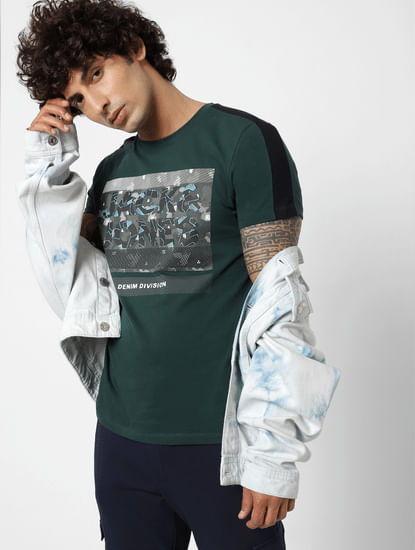 Dark Green Graphic Print Crew Neck T-shirt