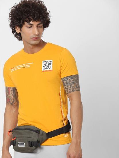 Yellow Text Print Crew Neck T-shirt